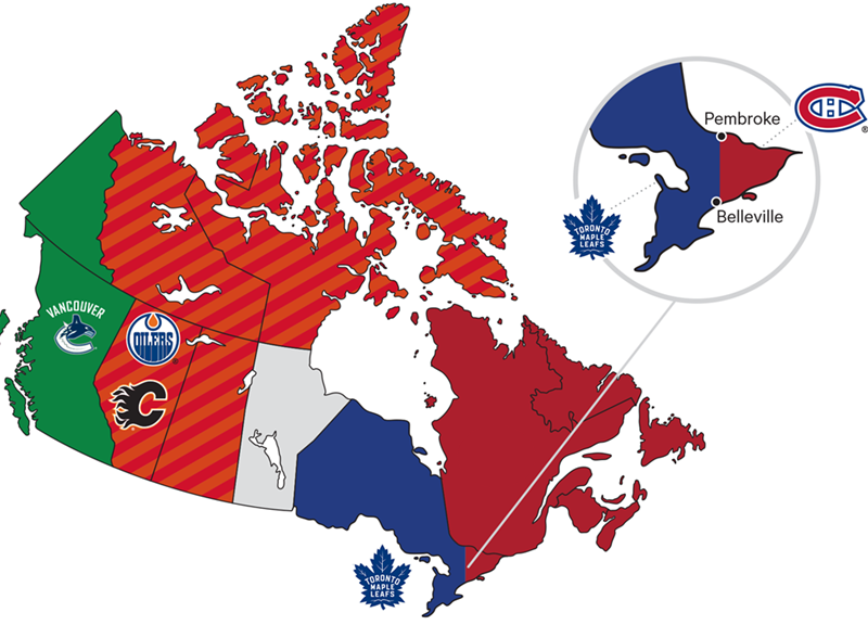Canadian team NHL blackout map
