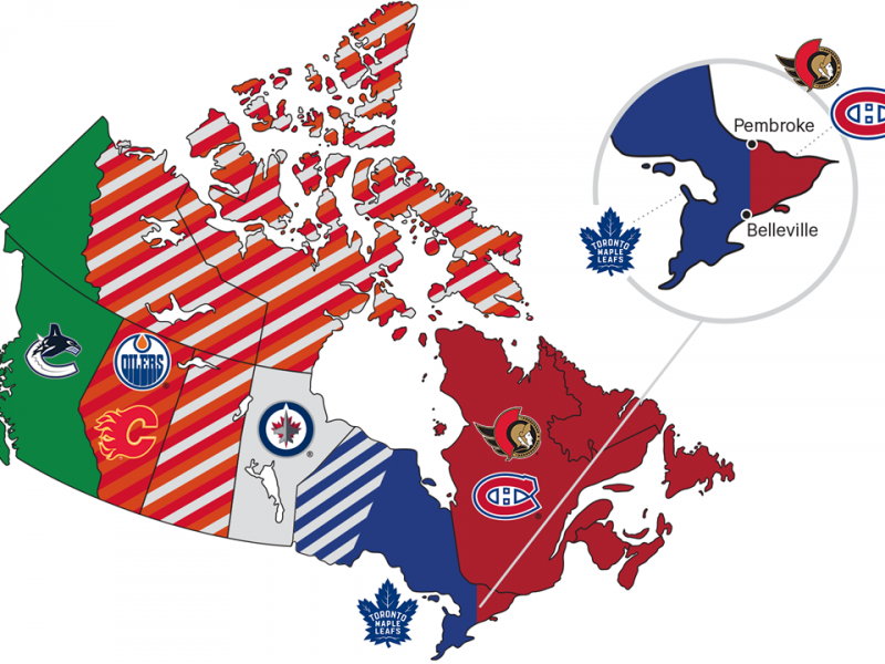 NHL broadcast region map for Canadian teams